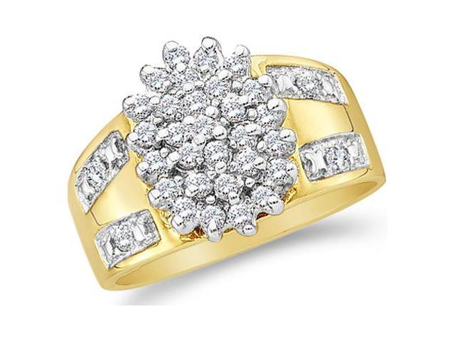 10k Yellow Gold Oval Shape Center Cluster Setting Round Cut Diamond Engagement Ring  (1/2 cttw, H Color, I1 Clarity)