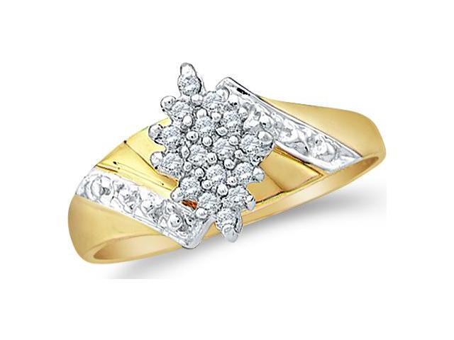 10k Yellow and White Two 2 Tone Gold Marquise Shape Center Cluster Setting Round Cut Diamond Engagement Ring  (1/10 cttw, H Color, I1 Clarity)