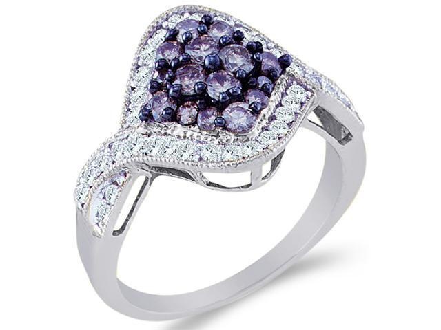 10k White Gold Blue and White Diamond Marquise Shape Center Setting Round Cut Ladies Diamond Engagement, Anniversary or Right Hand Ring Band  (1.0 cttw, H Color, I1 Clarity)