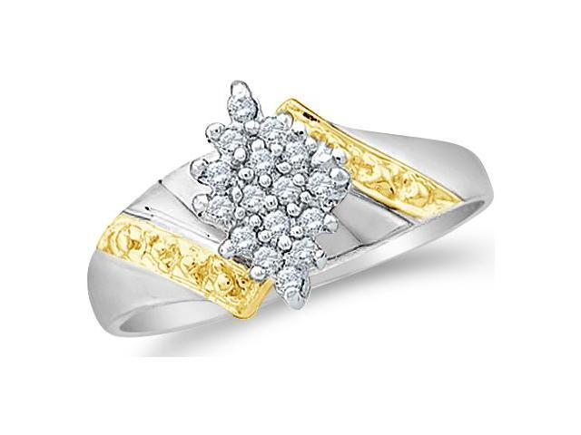 10k White and Yellow Two 2 Tone Gold Marquise Shape Center Cluster Setting Round Cut Diamond Engagement Ring  (1/10 cttw, H Color, I1 Clarity)