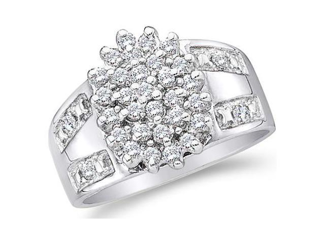 10k White Gold Oval Shape Center Cluster Setting Round Cut Diamond Engagement Ring  (1/2 cttw, H Color, I1 Clarity)