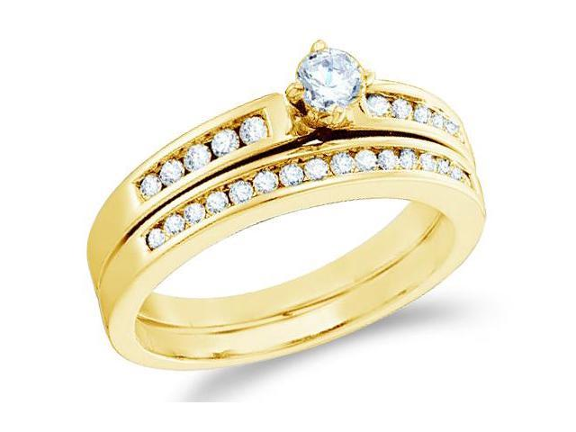 14k Yellow Gold Diamond Ladies Engagement Ring Matching Wedding Band Two 2 Ring Set Solitaire Side Stones Channel Set Round Brilliant Cut Diamond Ring  (1/2 cttw, H Color, I1 Clarity)