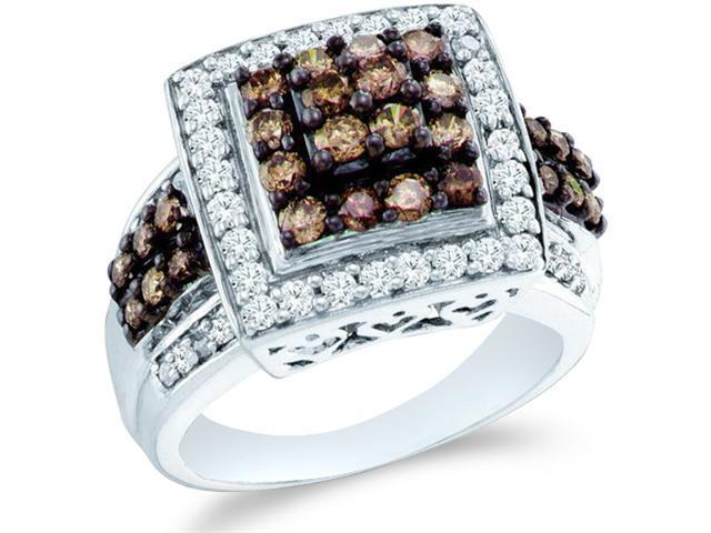 10k White Gold Chocolate Brown and White Diamond Princess Shape Center Round Cut Ladies Diamond Engagement or Anniversary Ring Band  (1.50 cttw, H Color, I1 Clarity)