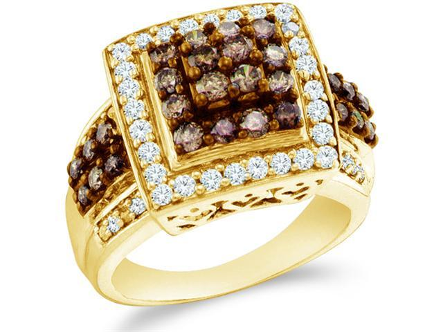 10k Yellow Gold Chocolate Brown and White Diamond Princess Shape Center Round Cut Ladies Diamond Engagement or Anniversary Ring Band  (1.50 cttw, H Color, I1 Clarity)