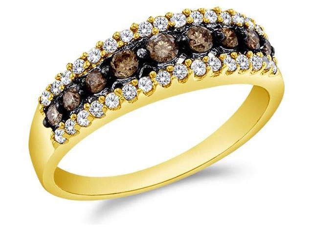 14k Yellow Gold Round Cut White and Brown Chocolate Diamond Womens Ladies Wedding Anniversary Fashion 5mm Ring Band (1/2 cttw, G - H Color, I1 Clarity)