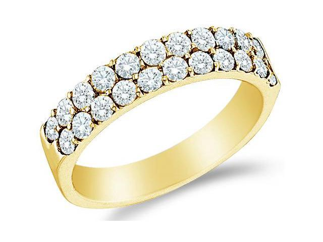 10k Yellow Gold Two Row Round Diamond Ladies Womens Wedding or Anniversary Ring Band (.47 cttw, G - H Color, I1 Clarity)
