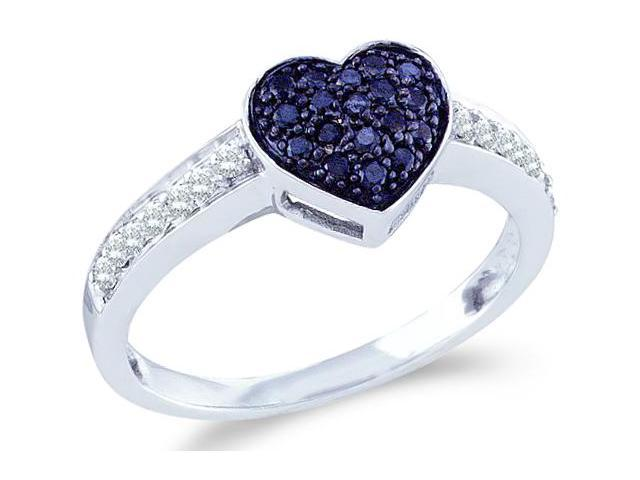 10k White Gold Blue and White Diamond Love Heart Shape Center Setting Round Cut Womens Ladies Anniversary or Right Hand Ring Band  (1/3 cttw, H Color, I1 Clarity)