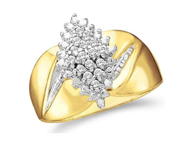 10k Yellow and White Two 2 Tone Gold Marquise Shape Center Cluster Setting Round Cut Engagement or Right Hand Cocktail Diamond Ring 13mm (.15 cttw, H Color, I1 Clarity)