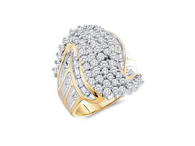 10k Yellow and White Two 2 Tone Gold Large Round Cut Womens Ladies Anniversary or Right Hand Diamond Ring Band 24mm (2.0 cttw, H Color, I1 Clarity)