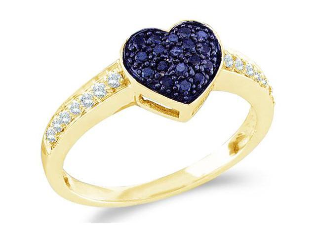 10k Yellow Gold Blue and White Diamond Love Heart Shape Center Setting Round Cut Womens Ladies Anniversary or Right Hand Ring Band  (1/3 cttw, H Color, I1 Clarity)