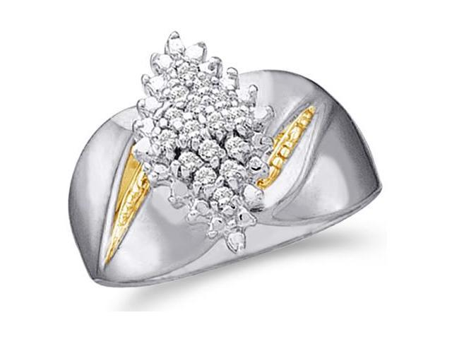 10k White and Yellow Two 2 Tone Gold Marquise Shape Center Cluster Setting Round Cut Engagement or Right Hand Cocktail Diamond Ring 13mm (.15 cttw, H Color, I1 Clarity)