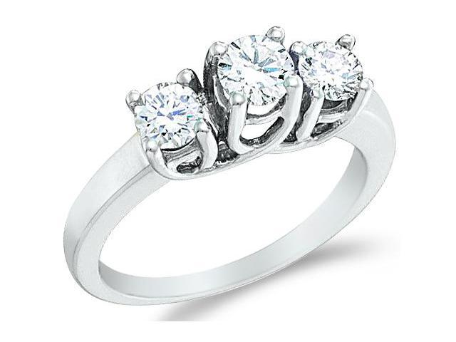 Solid 14k White Gold 3 Three Stone Round Cut Brilliant Diamond Engagement or Anniversary Ring Band (1.0 cttw, H Color, I1 Clarity)