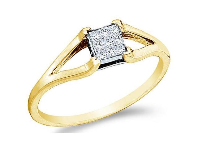 14k Yellow Gold Channel Invisible Set Solitaire Style Princess Cut Diamond Engagement Ring  (1/8 cttw, H Color, I1 Clarity)