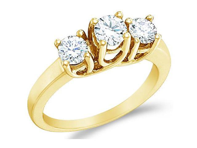 Solid 14k Yellow Gold 3 Three Stone Round Cut Brilliant Diamond Engagement or Anniversary Ring Band (1.0 cttw, H Color, I1 Clarity)