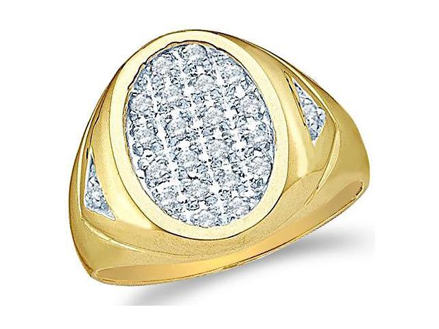 10k Yellow and White Two 2 Tone Gold Oval Large Pave Set Round Cut Mens Diamond Wedding Ring Band 15mm (1/4 cttw, H Color, I1 Clarity)