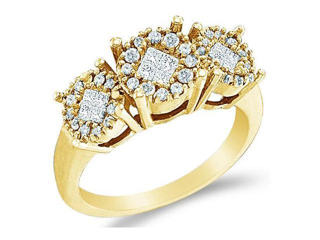Solid 14k Yellow Gold 3 Three Stone Type Setting Princess and Round Cut Channel Set Diamond Engagement or Anniversary Ring Band (1/2 cttw, G - H Color, SI2 Clarity)