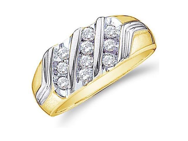 10k White and Yellow Two 2 Tone Gold Ten 10 Stones Channel Set Round Cut Mens Diamond Wedding Ring Band 9mm (1/2 cttw, H ...