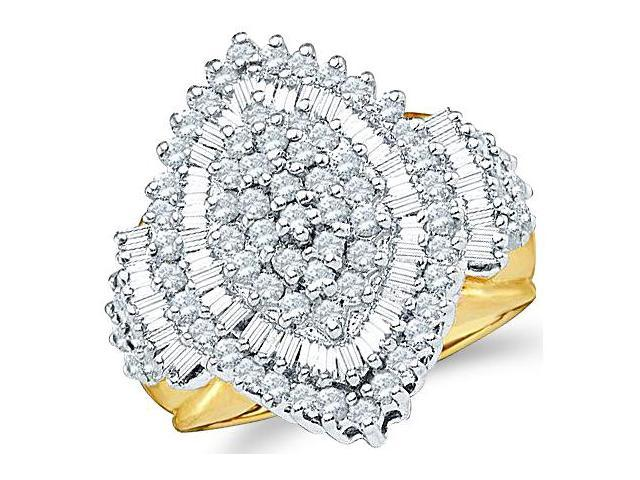 10k Yellow Gold Large Marquise Shape Center Setting Round Cut & Baguette Engagement or Right Hand Cocktail Diamond Ring 23mm (2.03 cttw, H Color, I1 Clarity)