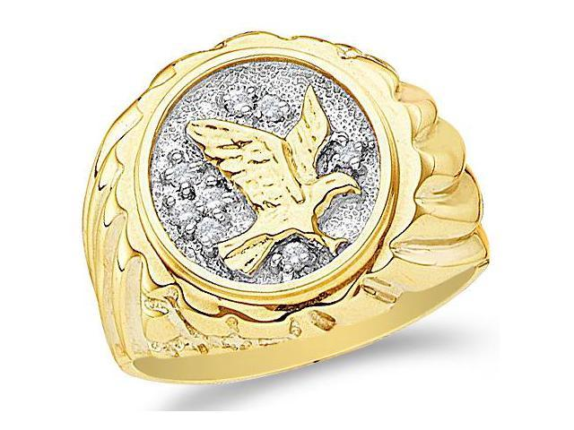 10k Yellow and White Two 2 Tone Gold Eagle Bird Seven 7 Stone Pave Set Round Cut Mens Diamond Wedding Ring Band (1/10 cttw, H Color, I1 Clarity)