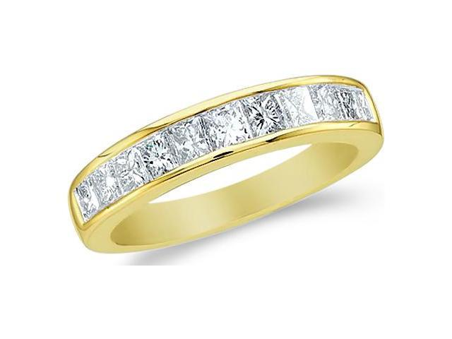 14k Yellow Gold Princess Cut Channel Set Diamond Ladies Womens Wedding or Anniversary 4mm Ring Band (1.0 cttw, G - H Color, SI2 Clarity)