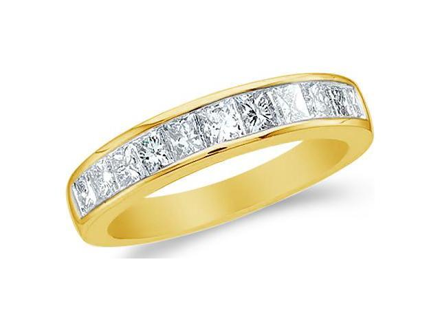 14k White Gold Princess Cut Channel Set Diamond Ladies Womens Wedding or Anniversary 4mm Ring Band (1.0 cttw, G - H Color, SI2 Clarity)