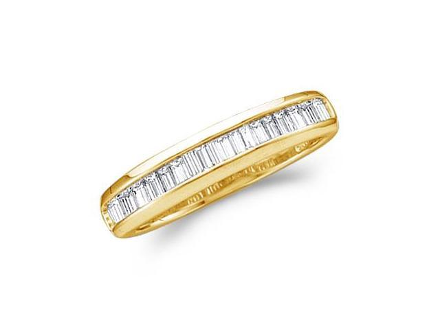 10k Yellow Gold Channel Set Baguette Diamond Ladies Womens Wedding or Anniversary 4mm Ring Band (1/4 cttw, G - H Color, I1 Clarity)