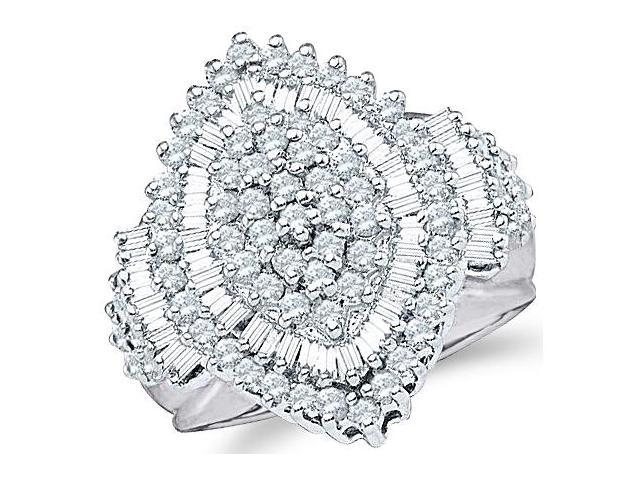 10k White Gold Large Marquise Shape Center Setting Round Cut & Baguette Engagement or Right Hand Cocktail Diamond Ring 23mm (2.03 cttw, H Color, I1 Clarity)