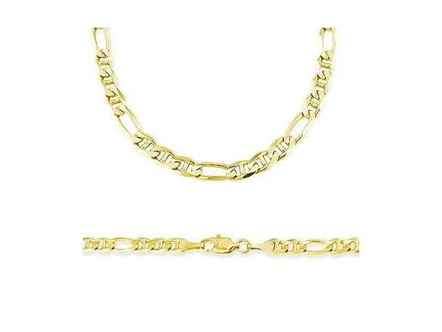 14k Solid Gold Figaro Figarucci Chain Necklace 6mm 22
