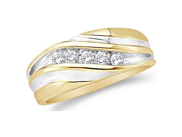 10k Yellow and White Two 2 Tone Gold Five 5 Stone Channel Set Round Cut Mens Diamond Wedding Ring Band (1/4 cttw, H Color, I1 Clarity)
