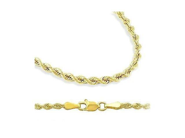 14k Yellow Gold Hollow Rope Chain Necklace 2.5mm 16