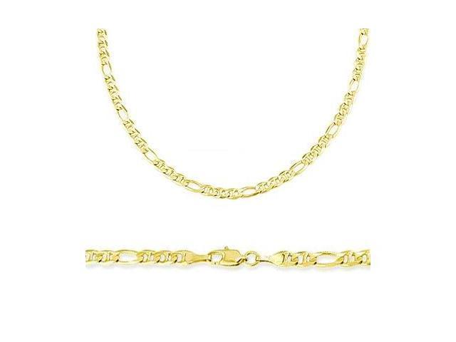 14k Solid Gold Figaro Figarucci Chain Necklace 2.6mm 16