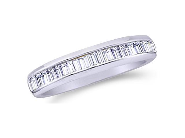 10k White Gold Channel Set Baguette Diamond Ladies Womens Wedding or Anniversary 2mm Ring Band (.15 cttw, G - H Color, I1 Clarity)