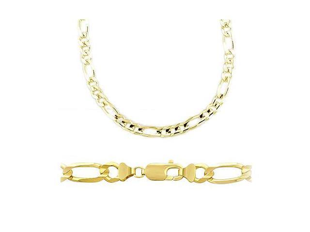 14k Solid Yellow Gold Figaro Chain Necklace 8.5mm 24