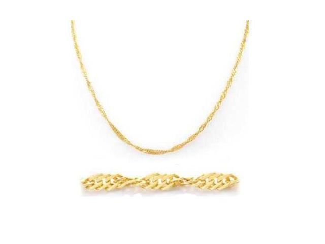 Solid 14k Yellow Gold Singapore Necklace w/ Lobster 3mm 16
