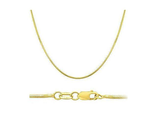 14k Solid Yellow Gold Round Snake Chain Necklace 1mm 20