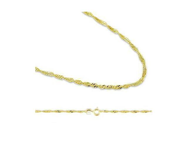 Solid 14k Yellow Gold Singapore Twist Chain Necklace .9mm 16