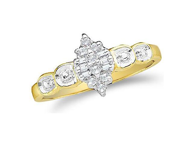 10k Yellow and White Two 2 Tone Gold Marquise Shape Center Invisible Setting Round Cut & Baguette Diamond Engagement Ring  (1/10 cttw, H Color, I1 Clarity)