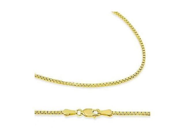 Solid 14k Yellow Gold Box Chain Necklace with Secure Lobster Clasp .8mm 16