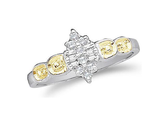 10k White and Yellow Two 2 Tone Gold Marquise Shape Center Invisible Setting Round Cut & Baguette Diamond Engagement Ring  (1/10 cttw, H Color, I1 Clarity)