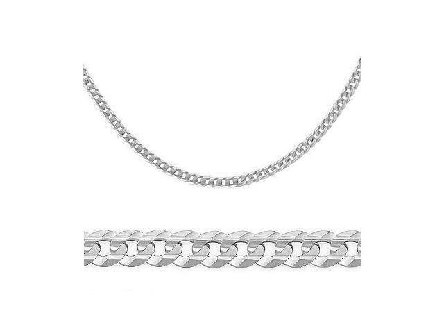 14K Solid White Gold Cuban Curb Chain Necklace 3.2mm 24