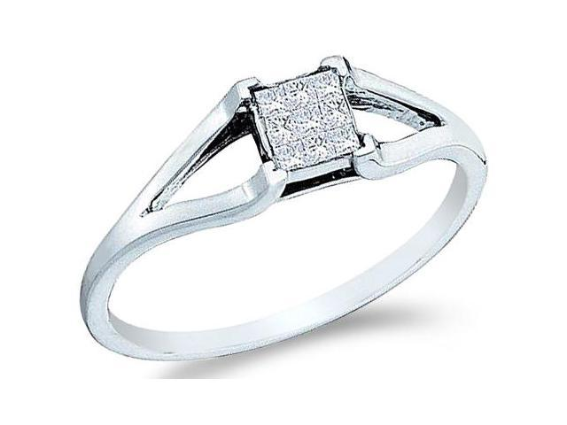 14k White Gold Channel Invisible Set Solitaire Style Princess Cut Diamond Engagement Ring  (1/8 cttw, H Color, I1 Clarity)