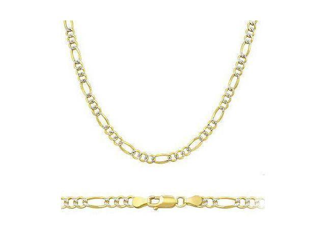 ELEGANT Solid 14k Two Tone Gold Figaro Pave Necklace 2.5mm 24
