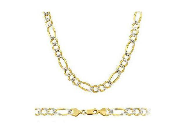 Long Heavy Solid 14k Two Tone Gold Figaro Pave Chain 6mm 26