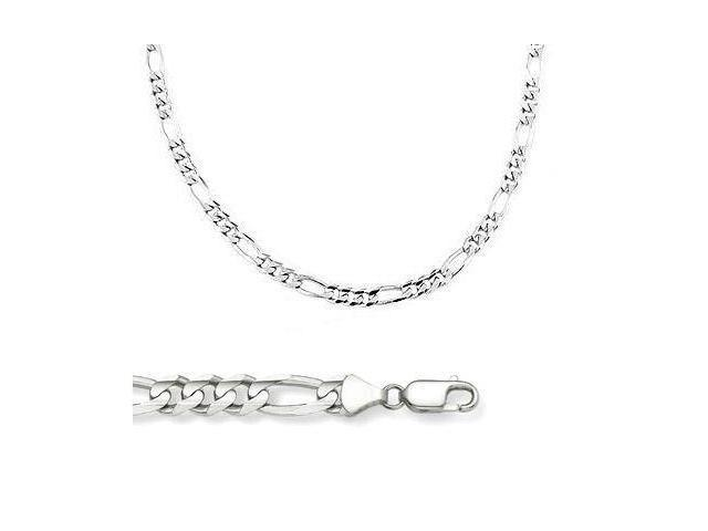 14k Solid White Gold Figaro Chain Necklace 4mm 24