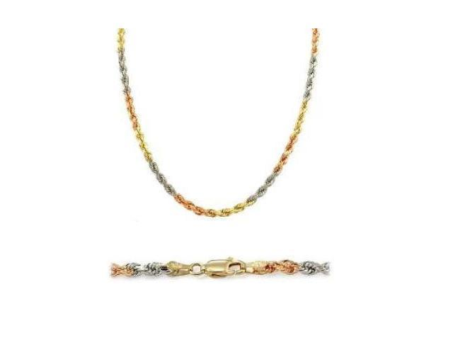 Solid 14k Yellow Tri Color Gold Rope Chain Necklace 1.5mm 22