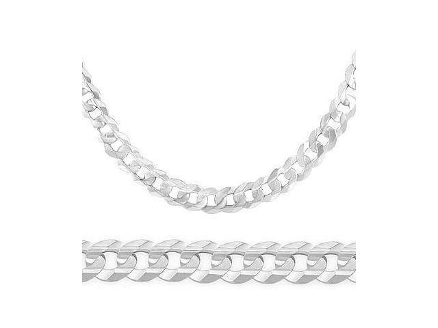 Solid 14k White Gold Cuban Curb Chain Necklace HUGE 8.1mm 24