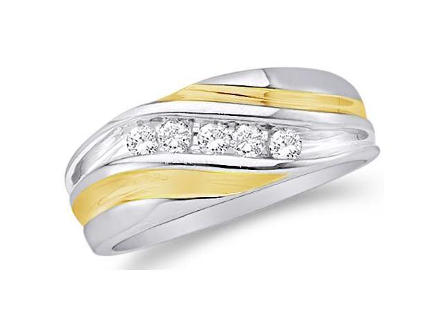 10k White and Yellow Two 2 Tone Gold Five 5 Stone Channel Set Round Cut Mens Diamond Wedding Ring Band (1/4 cttw, H Color, I1 Clarity)