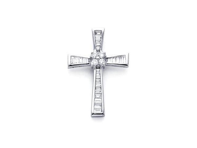 14k White Gold New Baguette Diamond Cross Pendant .46ct (G-H Color, SI2 Clarity)
