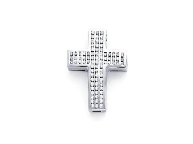 14k White Gold Channel Set Round Diamond Cross Pendant (G-H Color, SI2 Clarity)