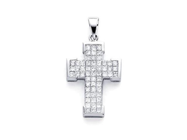 14k White Gold Channel Set Princess Cut Diamond Cross Pendant (G-H Color, SI1 Clarity)